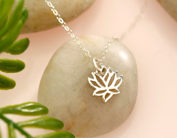 Mariage - Tiny Sterling Silver Lotus Necklace, everyday, gift, wedding, bridal, best friends