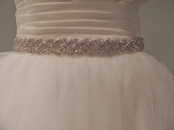 "Mariage - TRIM for Wedding Dress. Crystal Sash Belt. Rhinestones, Beaded. Bridesmaids, Prom, Party Dress  Bling. SMALL - ""Erin"""