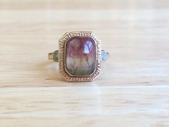 Mariage - Vintage 10kt Yellow Gold Tourmaline Diamond Accent Ring - Size 5 1/2 Sizeable Retro Alternative Engagement / Wedding Antique Stone Jewelry