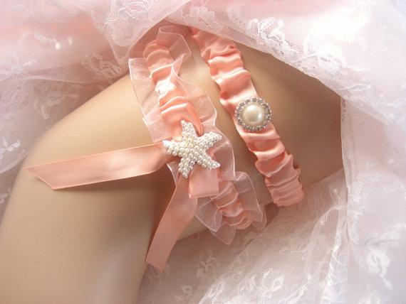 Hochzeit - Beach Wedding Garter Set Starfish Garter  Peach Garter Toss Garter / Garter Belt / Garder