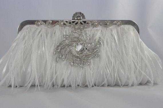 Hochzeit - White Ostrich Feather Clutch with Crystals - Feather Bridal Clutch - Personalized Wedding Clutch - White Satin Evening Bag - Bridal Handbag