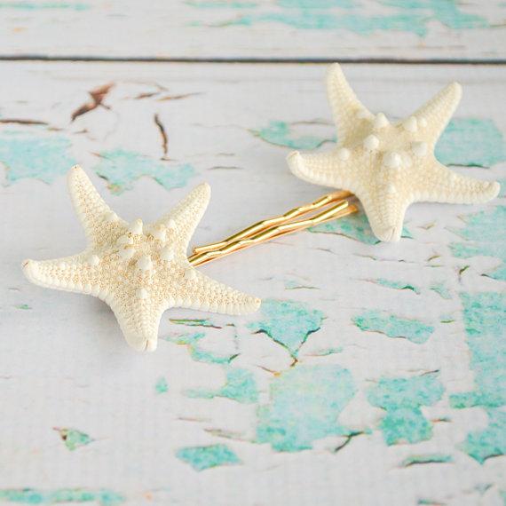 Mariage - White Armored Knobby Starfish Bobby Hair Pins - Beach Destination Wedding Mermaid Hair Hairpins Set of 2