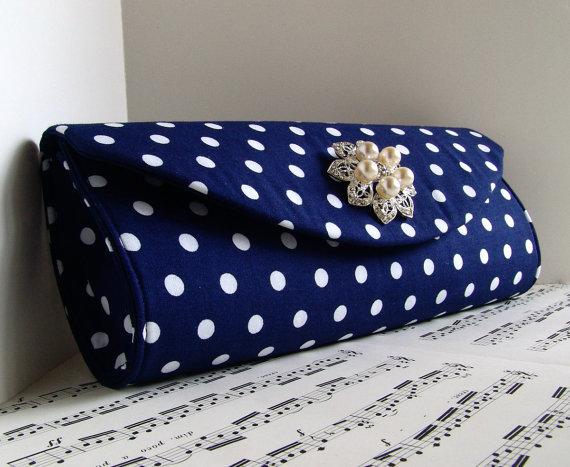 Hochzeit - Polka dot clutch, pearl clutch bag, Navy blue and white, Wedding clutch, nautical wedding