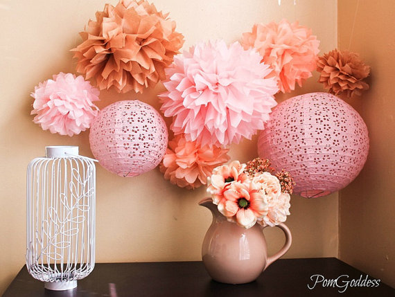 5 Tissue Paper Pom Wedding Reception Decorations Ceremony Diy Birthday Party