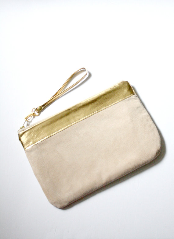 Wedding - The Guevara Clutch ///// Pastel Suede Clutch. Bridesmaid Bag. Wedding Clutch. Champagne Suede. Mothers Day Gift.