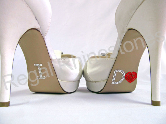 Mariage - I Do Shoe Stickers - RED HEART I Do Wedding Shoe Stickers - Rhinestone I Do Shoe Decals for your Bridal Shoes