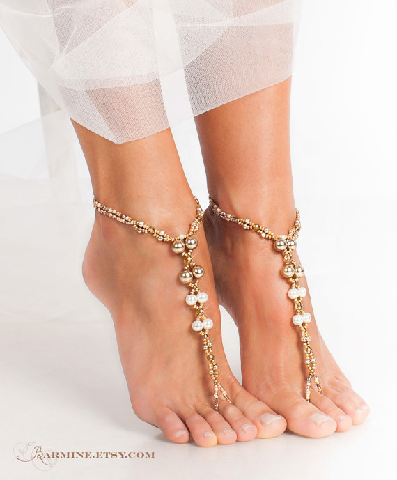 Champagne Gold Bridal Barefoot SandalsBeach Wedding Foot Jewelry