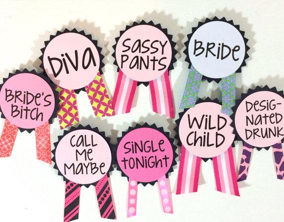 Свадьба - Bachelorette Party Pins, Name Tags, Bachelorette Sash, Bachelorette Party Decorations