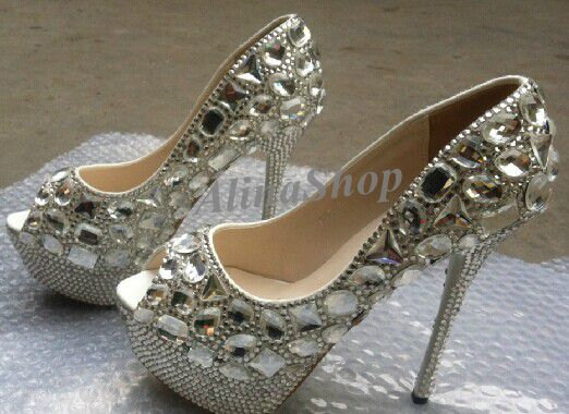 Hochzeit - bridal shoes sliver crystals heels wedding bling heels bridal Platform heels custom size /color, Clean diamond white crystal heels Wedding