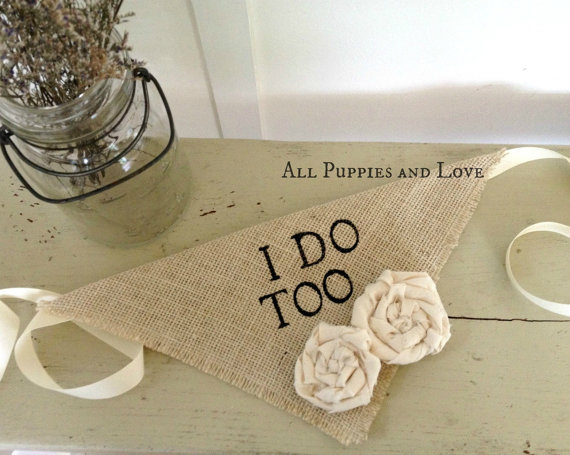 Boda - Ivory Burlap I Do Too Girl Dog Collar Bandana with Flowers for Engagement Wedding Photo Prop