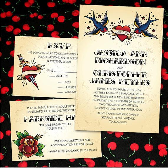 Mariage - Custom Vintage Tattoo Wedding Invitations