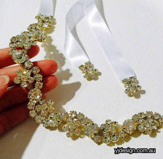 Mariage - Gold Bridal Headband, Floral Headpiece, Rhinestone Crystal Tiara, Wedding Halo, Hair Jewelry, Silver Crown, ROXANNA