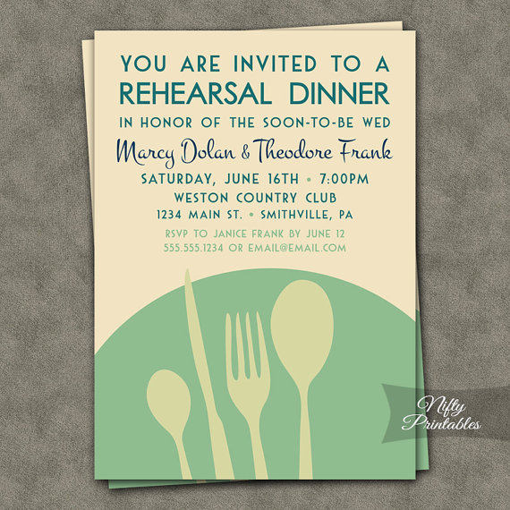 Wedding - Mint Green Rehearsal Dinner Invitations - Modern Rehearsal Dinner Invites - Printable Rehearsal Invitations - Mint, Cream & Turquoise