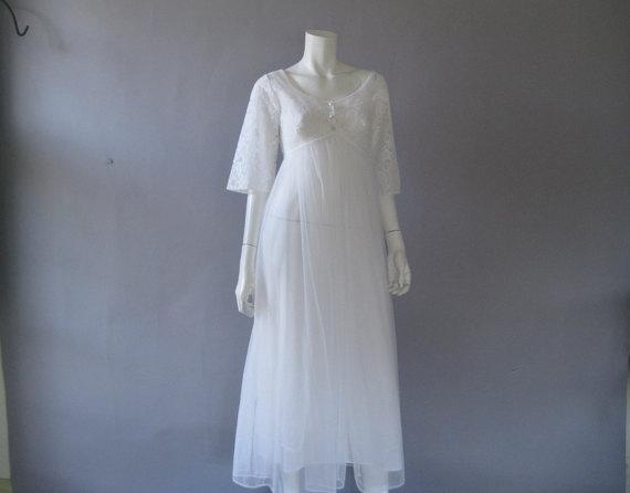 Wedding - Vintage Peignoir Set - !960s White Sheer Nylon Robe and Nightgown - Bridal Lingerie