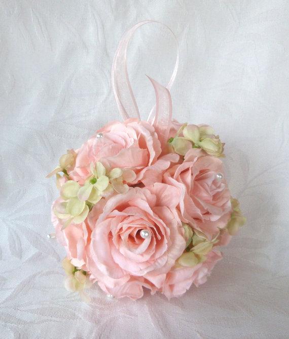 Mariage - Pink rose and green hydrangea kissing ball rose pomander wedding flower ball