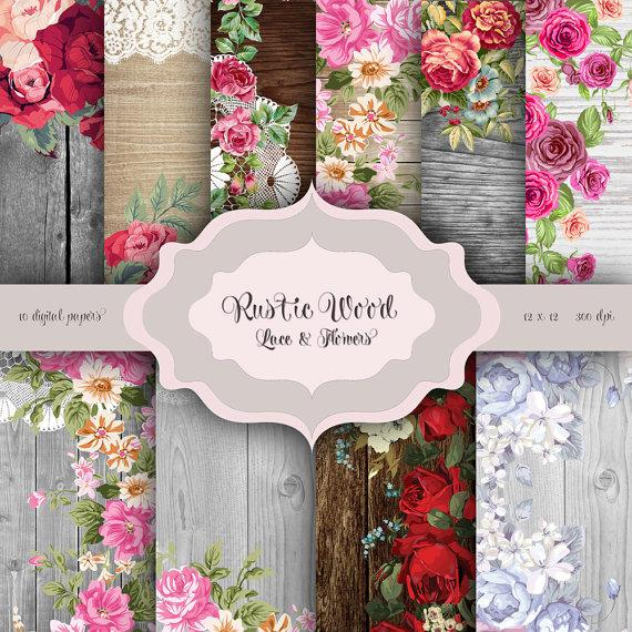 Rustic Wood Flowers LACE Digital Paper Pack