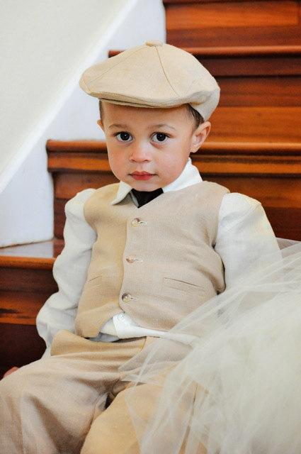 ccfcef992 Linen Hat, Pants And Vest Ring Bearer Baptism Baby Boy Suit Birthday ...