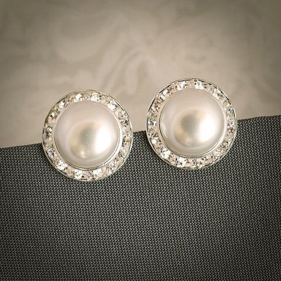 Laura Clic Pearl And Crystal Rivoli Bridal Earrings Rhinestone Wedding Stud Modern Vintage