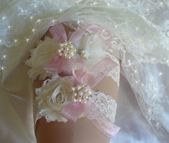 Свадьба - Custom Made Lace Wedding Garter Set, Bridal Garter Belts, Wedding Garders, Lace Garter, Blush Pink Garter, Wedding Lingerie, Keepsake Garter