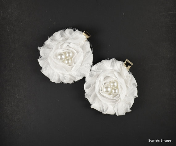 White Flower Hair Clips Shoe Accessories Baptism Wedding Accessory Pearl