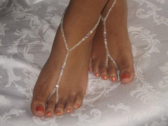 Mariage - Lavender Beach Sandal Barefoot sandals Foot jewelry Anklet  Destination Wedding