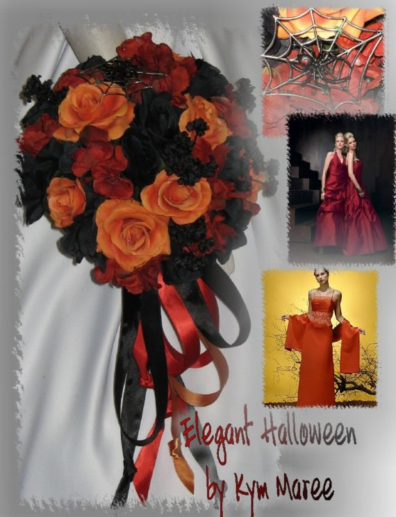 Mariage - Halloween Wedding Bouquet Set, Halloween Bridal Bouquets
