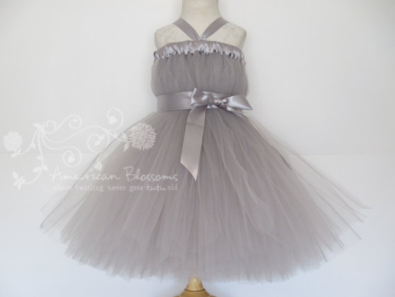 d883b79677d Gray Flower Girl Dress Baby Girls Toddler Grey Tea Length Ivory Flower Girl  Tutu Dress Tulle Dress Silver Satin Ribbon by American Blossoms