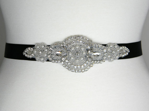 زفاف - Bridal Sash - Wedding Belt - Bridal Belt - Bridesmaid Belt - Beaded Pearl Wedding Dress Belt - Black Satin Bridal Sash - BELLA II