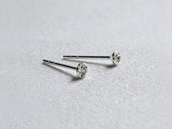 Mini Cz Stud Earrings 3mm Sterling Silver Diamond Studs Gift Under 20 Simple Minimalist Everyday Jewelry Littionary