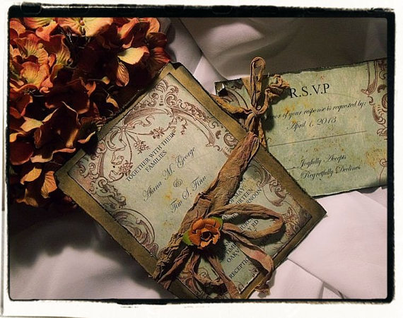 Hochzeit - Tuscany Fall Vintage Wedding invitation