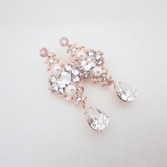 Rose Gold Bridal Earrings Wedding Jewelry Pearl Swarovski Crystal Vintage Style Ashlyn Rg