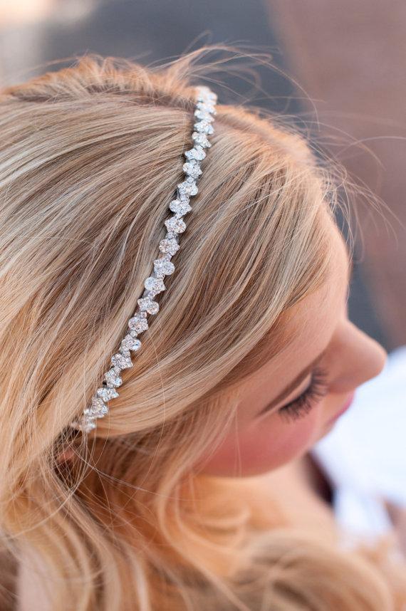 زفاف - Bridal rhinestone headband wedding rhinestone headband flower girl or prom headband rhinestone headpiece special occasions bridal or prom