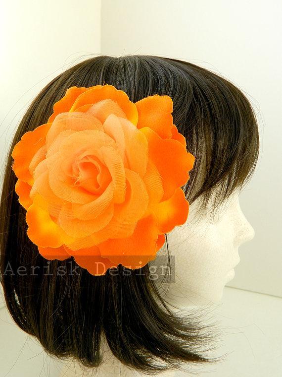 Orange Tangerine Rose hair fascinator Organza Petal Rose Bloom for wedding 4fcef30cbc3