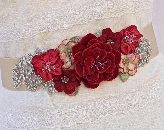 زفاف - Bridal Sash, Wedding Sash in Champagne And Red with Crystals and Pearls, Rhinestones, Bridal Belt-Sabrina