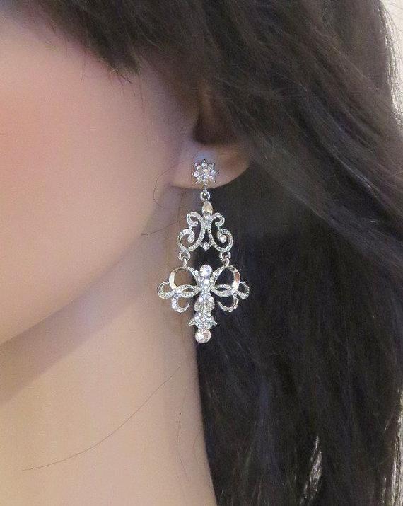 Mariage - Chandelier bridal earrings, Crystal Wedding earrings, Art Deco earrings, Bridal jewelry, Statement earrings, Rhinestone earrings, Vintage