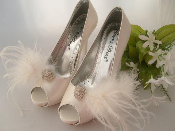زفاف - Vintage inspired bridal shoe clips feather bridal shoe clips shoe jewelry art deco rhinestone shoe clips bridal shoe clips wedding accessory
