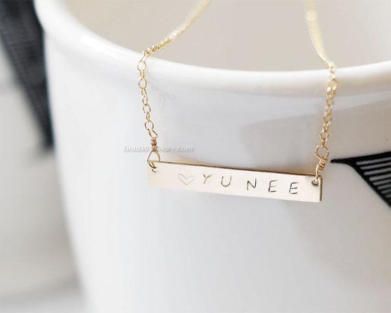 Wedding - Gold bar Personalized Necklace/ Customized Name Bar Necklace/ Personalized Bar Necklace/ gold Name Bar, wedding, bridesmaid, birthday gifts