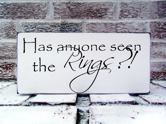 "Wedding - Ring bearer sign, ""Has anyone seen the rings"" for ringbearer to carry, wedding signs, dog in ceremony,  ring bearers, for dog pet in wedding"