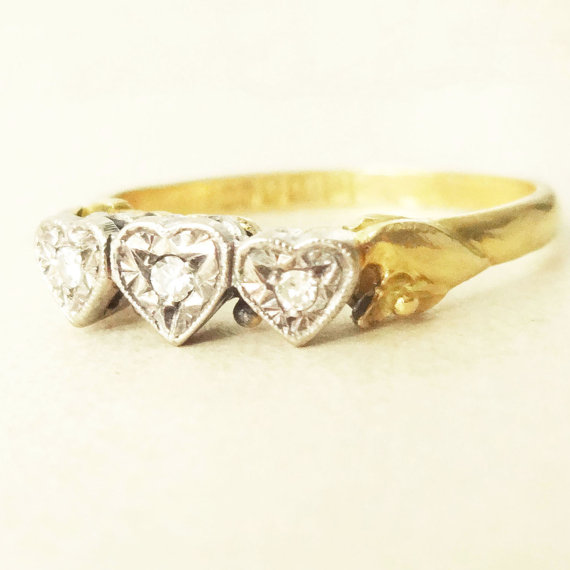 Mariage - Vintage 1960's Triple Heart Diamond Ring, 18 Carat Gold Diamond Trilogy Engagement Ring, Approx Size US 8.5