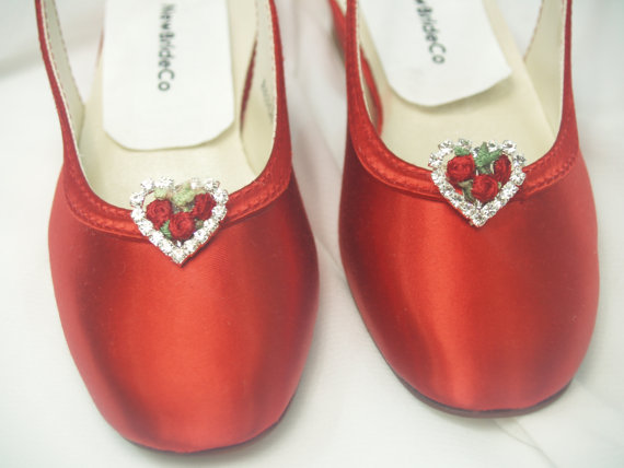 Свадьба - Wedding Red Shoes flower girls crystals hearts