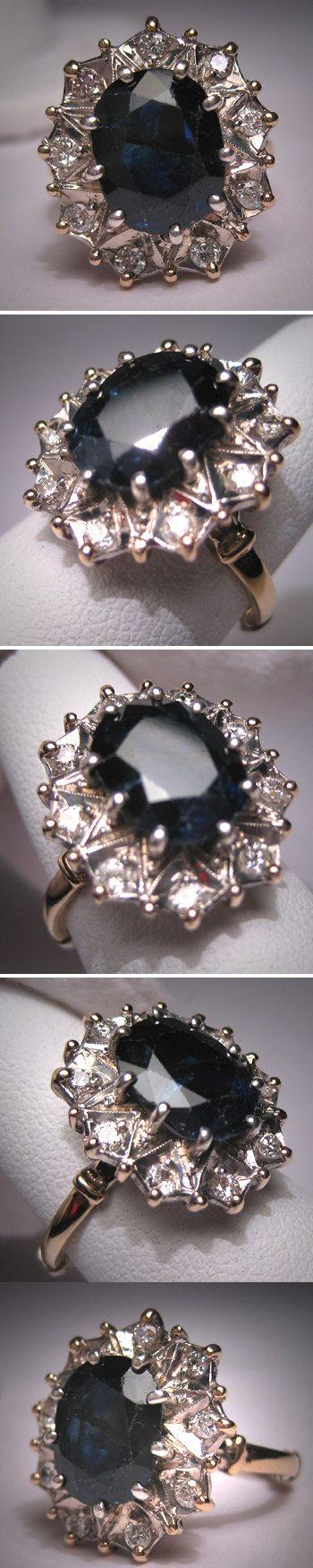 زفاف - Antique Royal Sapphire Diamond Wedding Ring Vintage