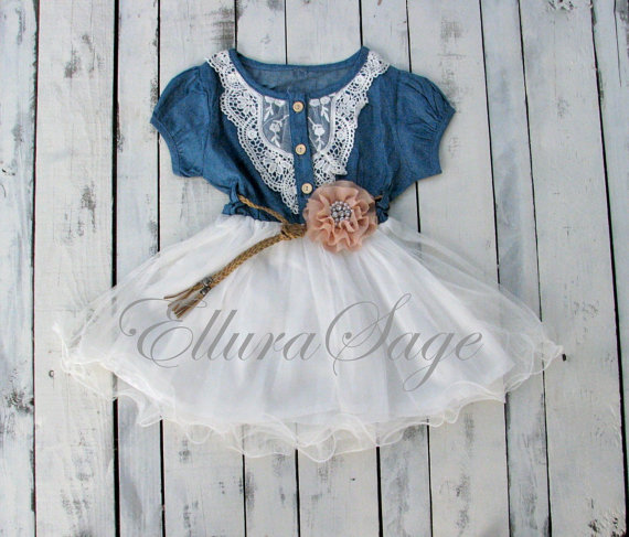 Flower Girl Dress Denim Cowgirl Tutu Rustic Western Baby Birthday