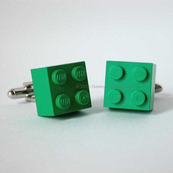 Свадьба - Made with LEGO bricks - Green Brick Cufflinks - Groomsmen Gift - Mens Cufflinks - Gift for HIm - Best Man Gift - Dad