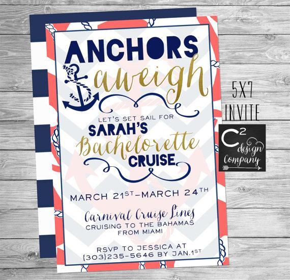 Hochzeit - Anchors Aweigh Bachelorette Cruise Invitation