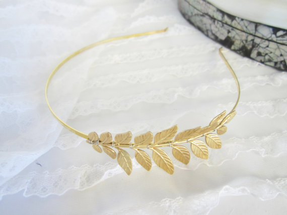 Wedding - Gold Grecian  leaf Headband for your wedding
