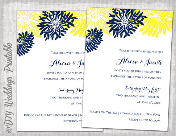 wedding invitation template yellow navy blue diy summer wedding invitations flower burst gerber daisy digital printable instant download - Daisy Wedding Invitations