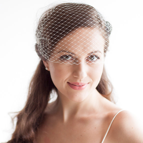 Mariage - Bridal Bandeau Veil - Blusher Veil - Russian Veiling - Ivory OR White