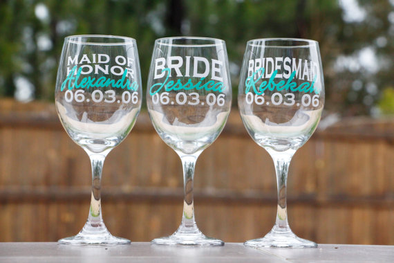 Bridal Party Wine Glasses - Bridesmaid Gifts - Wedding Party Gifts ...