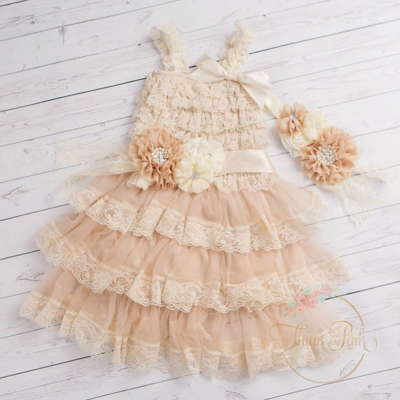 Nozze - flower girl dress headband and sash SET,baptims dress Easter dress,Birthday dress,Ivory lace dress,Ivory girls dress,baby dress,girls dress.