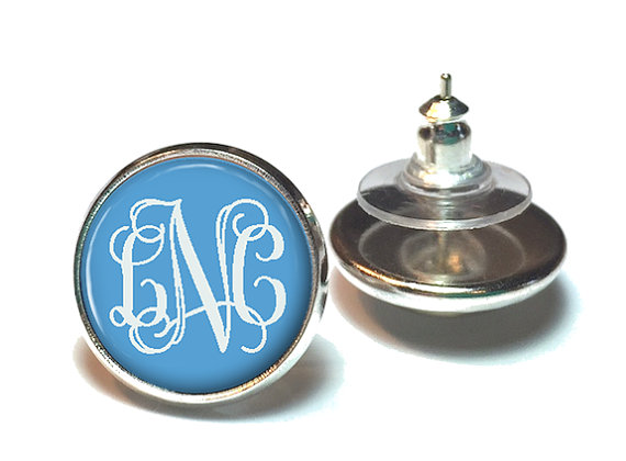 Blue Monogram Earrings Stud Jewelry 467